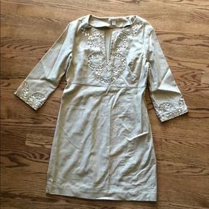 Boston Proper women's beige embellished dress
